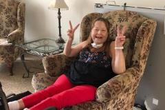 happy resident using a ventilator